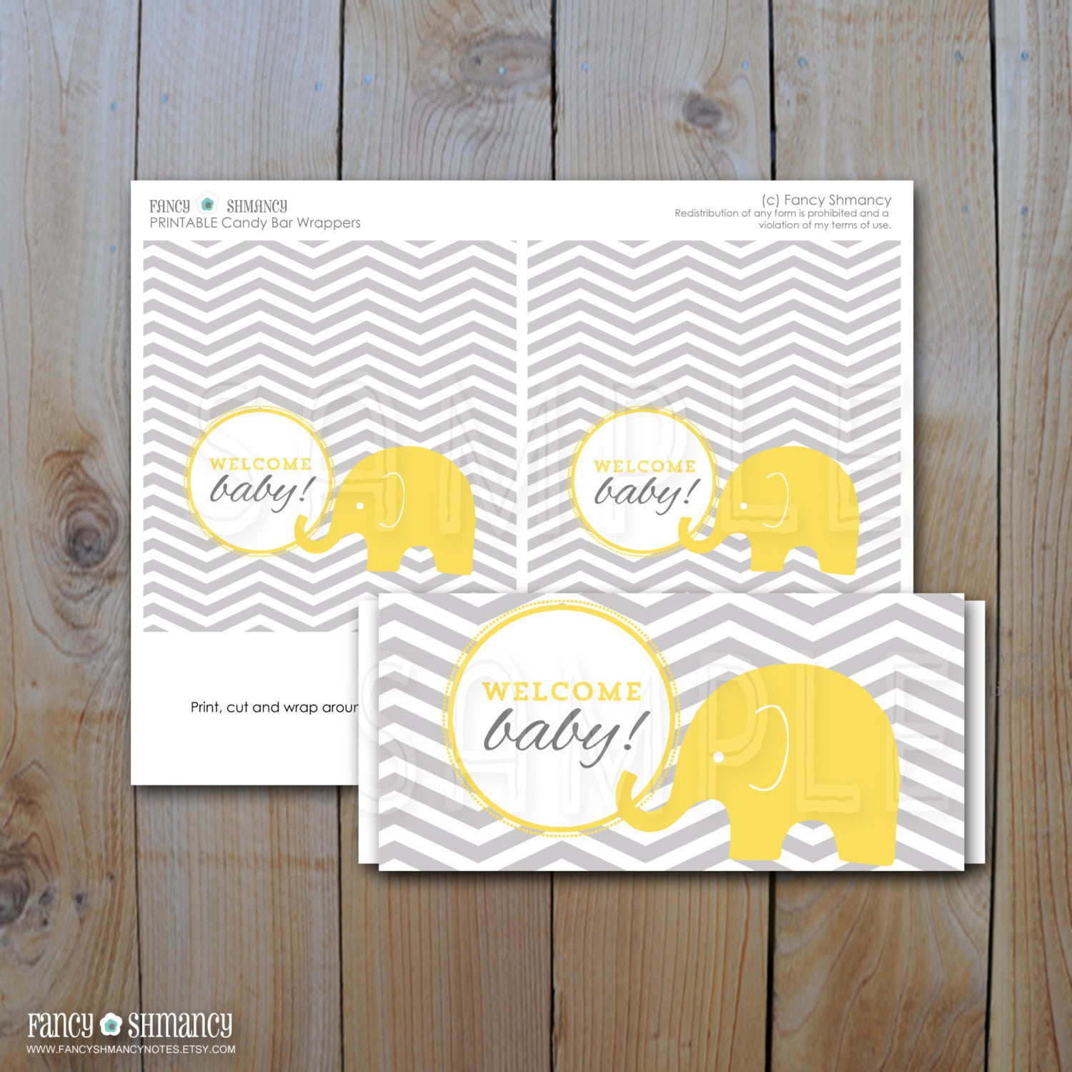 Candy Bar Wrapper Wel e Baby Yellow elephant Grey