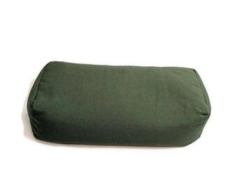 Organic Buckwheat Hull Yoga Pillow Bolster- Evergreen