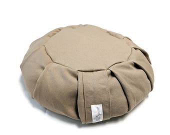 Meditation Cushion Zafu made with Organic Hemp Fabric and Buckwheat Hulls- Flax