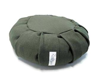 Buckwheat Zafu for Mediation made with Hemp Fabric- Evergreen