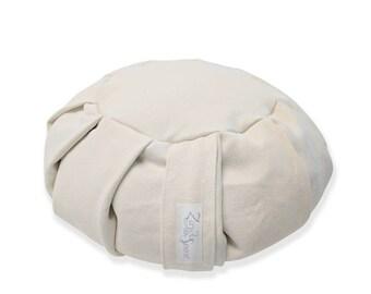 Organic Meditation Cushion made with Buckwheat Hulls and Hemp Fabric- Vanilla
