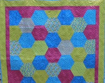 Hexagon Butterfly Quilt, Blues, Purples, Greens Quilt
