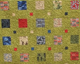 Military/Veteran Lap Quilt, Handmade Modern Quilt