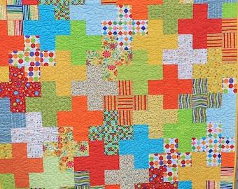 Handmade Bright Cheery Modern Plus Quilt