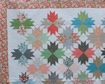 Handmade Modern Bear Paw Block Floral Quilt