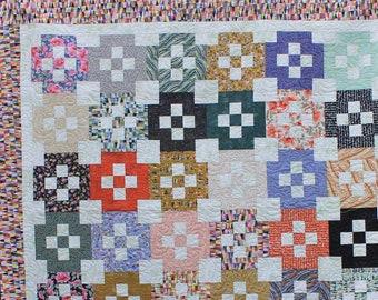 Modern Floral Bordered Nine Patch Handmade Quilt