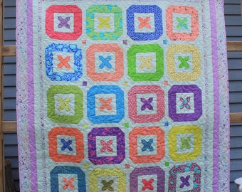 Handmade Bright and Cheery Buttons Patchwork Quilt