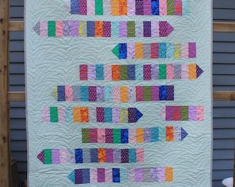 Handmade Happy Bright Quilt, Pencil Me In Quilt