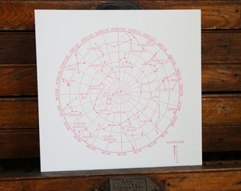 "Letterpress Print ""Constellations"" in Dark Pink"