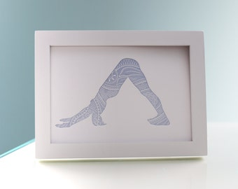 Letterpress Print - Downward Facing Dog - Soft Blue