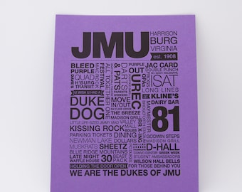 JMU Letterpress Print (Black Ink on Dark Purple Paper)