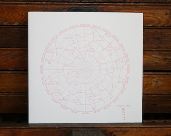 "Letterpress Print ""Constellations"" in Soft Pink"