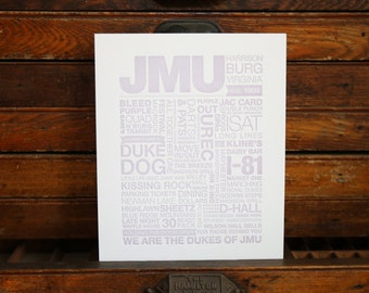 JMU Letterpress Print (Distressed Purple Ink on White Paper)