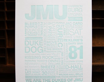 JMU Letterpress Print (Light Turquoise Ink on White Paper)