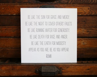 "Letterpress Print ""Rumi"" in Black"
