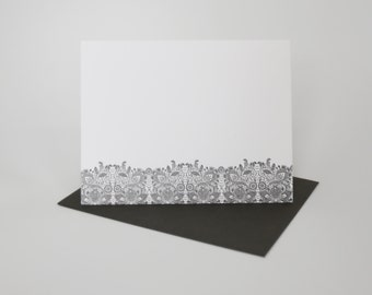 "Individual Letterpress Card ""Lace"" in Slate Grey"