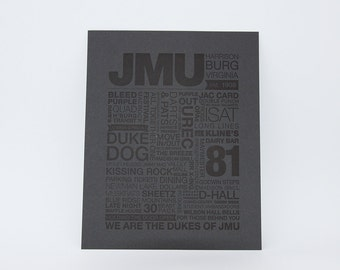 JMU Letterpress Print (Black Ink on Grey Paper)