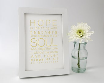 Letterpress Poetry Print - Emily Dickinson - Yellow