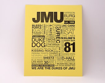 JMU Letterpress Print (Black Ink on Light Yellow Paper)
