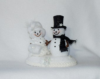 Mr & Mrs Snowman Wedding Cake Topper