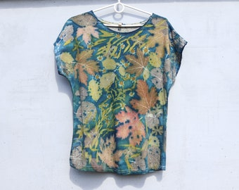 hemp tee bohemian blouse organic cotton blouse eco dyes top plant dyed tshirt ecoprinted silk blouse natural dyes blouse handmade