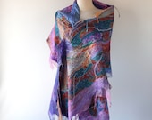 Nuno felted scarf, Women spring felt scarf, lilac pink wool silk scarf gift for her Galafilc