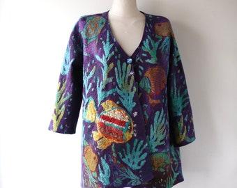 Women Felted jacket purple Wool waistcoat one of a kind jacket medium size  Fish  Nuno felt cardigan  Galafilc