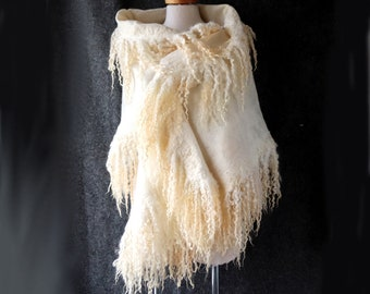 Felt Fur Curly scarf White Hand Felted scarf Pure Real Wool Fleece by galafilc Organic and Cruelty Free