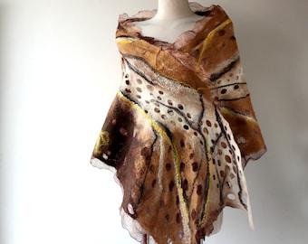 Nuno felted scarf, Women Brown beige yellow felt scarf,  beige brown wool silk scarf gift for her Galafilc