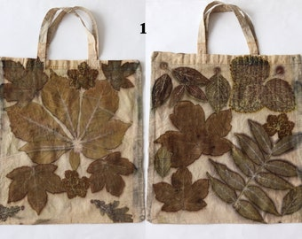 Canvas shoulder bag tote  bag natural hand dyed  Eco-printed with  leaves  Reusable Shopping Bag, Farmers Market Tote