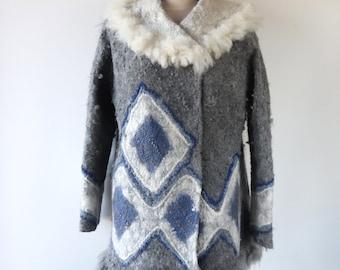 Women alpaca jacket Grey felted jacket Felted coat Natural wool coat Alpaca wool coat for women Galafilc
