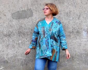 Women Felted jacket Teal brown Wool waistcoat one of a kind jacket medium size Nuno felt cardigan  Galafilc