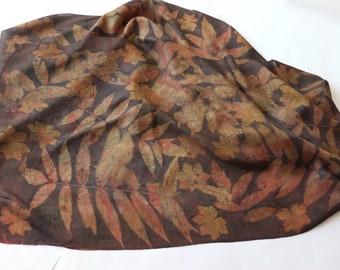 Silk scarf Eco dyed silk scarf Brown Beige scarf plant print scarf women Leaf pattern  handpainted Fashionable Silk Accessory Galafilc