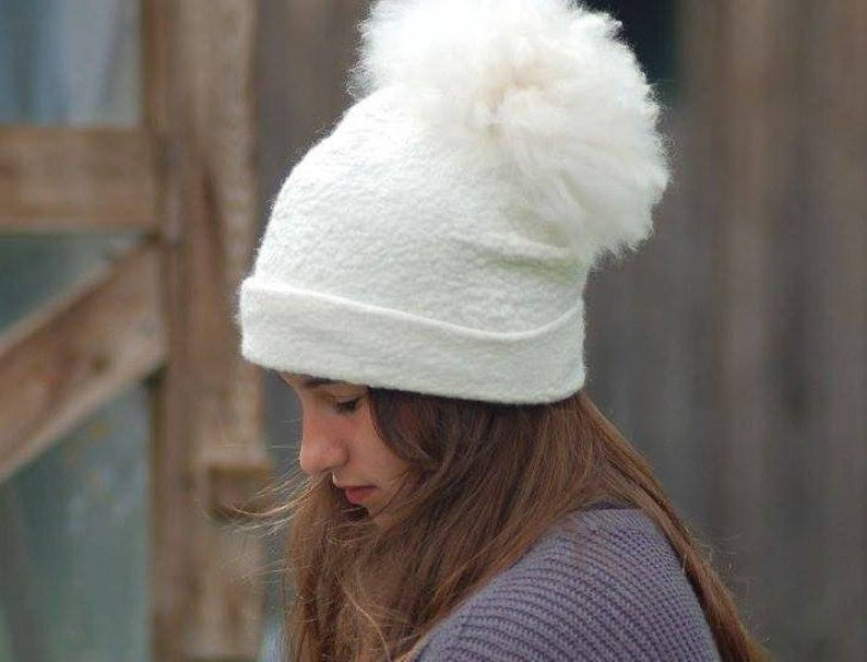 614711f5c20 Beanie Felted hat with pompon white Alpaca hat white wool