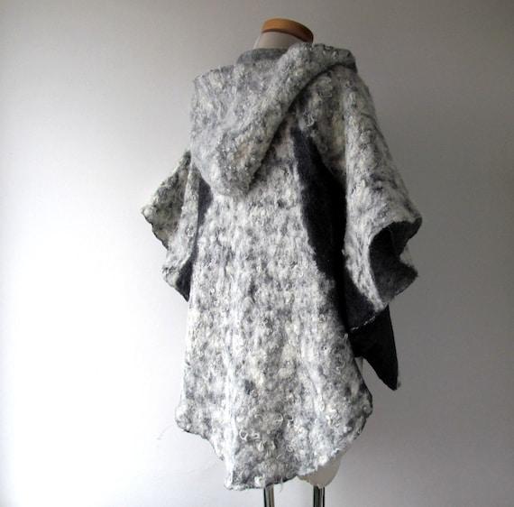 Jacke Umhang übergroße gefilzt Kapuze Wolle Frauen Wolle Mantel für mit Alpaka Jacke natürliche Kapuze gefilzte grau Alpaka Umhang wickeln mit Wolle HW9EID2