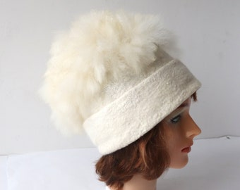 Alpaca Felted hat with pompon white Alpaca hat  white wool beanie hat Felt warm hat white Wool Hat pompon Warm felt hat outdoors gift