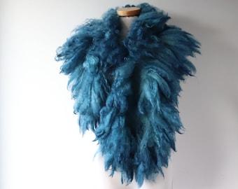Alpaca Fur scarf Blue Felted collar Blue felt collar  Alpaca wool collar  Fur scarf  Pure Wool Fleece real fur scarf outdoors gift