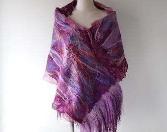 Nuno felted scarf, Women warm wool scarf,   Purple pink  wool silk scarf gift for her Galafilc