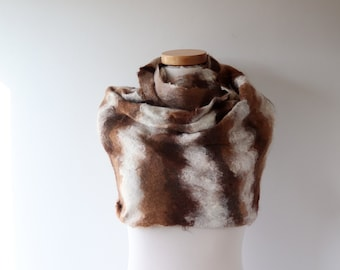 Alpaca Hooded cowl Hooded Chunky Scarf Infinity felted Scarf Loop Circle Outdoors Gifts For Her, Wool Hooded Cowl Reversible Scarf