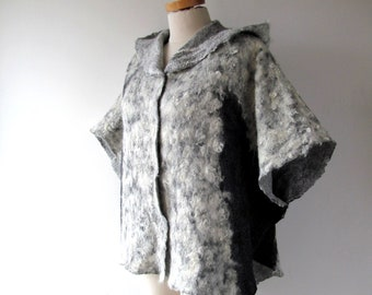Women felted jacket Grey wool alpaca jacket Felted coat Natural wool cape with hood oversized cape with hood  Alpaca wool wrap for women