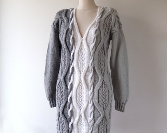Grey hand knitted cable sweater chunky Aran style White Cable-Knit Sweater Large Knit