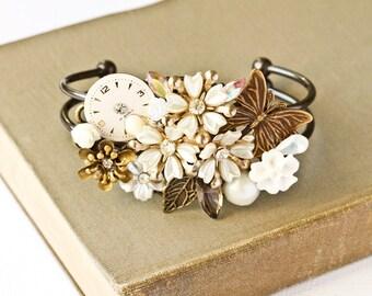 White Shabby Chic Bracelet - Bridal Bracelet, Bridesmaid Bracelet, Wedding Jewelry, Vintage Bracelet, One of a Kind