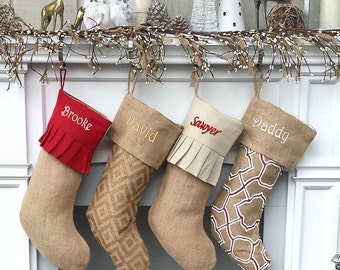 personalized elegant burlap christmas stockings print moroccan modern diamond ruffle cuff country chic rustic sheek personalized embroidered - Elegant Christmas Stockings