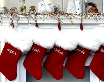 personalized christmas stockings velvet 19 luxury faux fox fur cuff christmas stocking embroidered with names velvet stockings