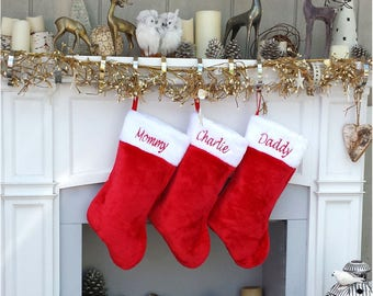 red white plush embroidered christmas stocking personalized embroidered family stockings traditional red and white christmas stockings - Embroidered Stockings Christmas