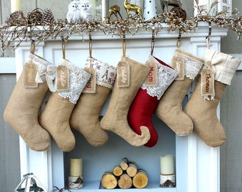 burlap lace linen christmas stockings country primitive rustic decor personalized christmas stocking embroidered burlaps fabric name tags - Rustic Christmas Stocking