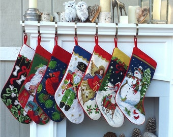 needlepoint christmas stockings personalized santa nutcracker snowman dog bones pet old world finished embroidered stockings with names x