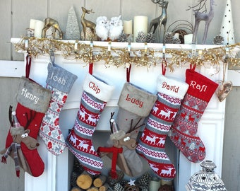 reindeer fun reindeer knit christmas stockings red white gray scandinavian nordic knitted holiday theme kids - Etsy Christmas Decorations