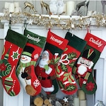 Whimsical Nutcracker or Cute Snowman Tufted Velvet Children's Christmas Stockings Embroidered and Personalized with Names Family Heirloom