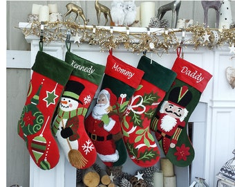 whimsical nutcracker or cute snowman tufted velvet childrens christmas stockings embroidered and personalized with names family heirloom